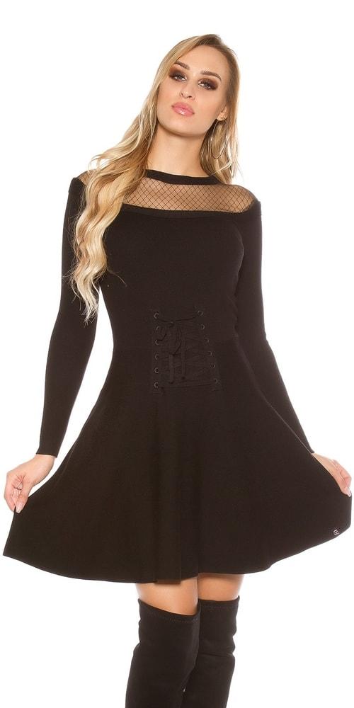 Úpletové dámské šaty - S/M Koucla in-sat1578bl
