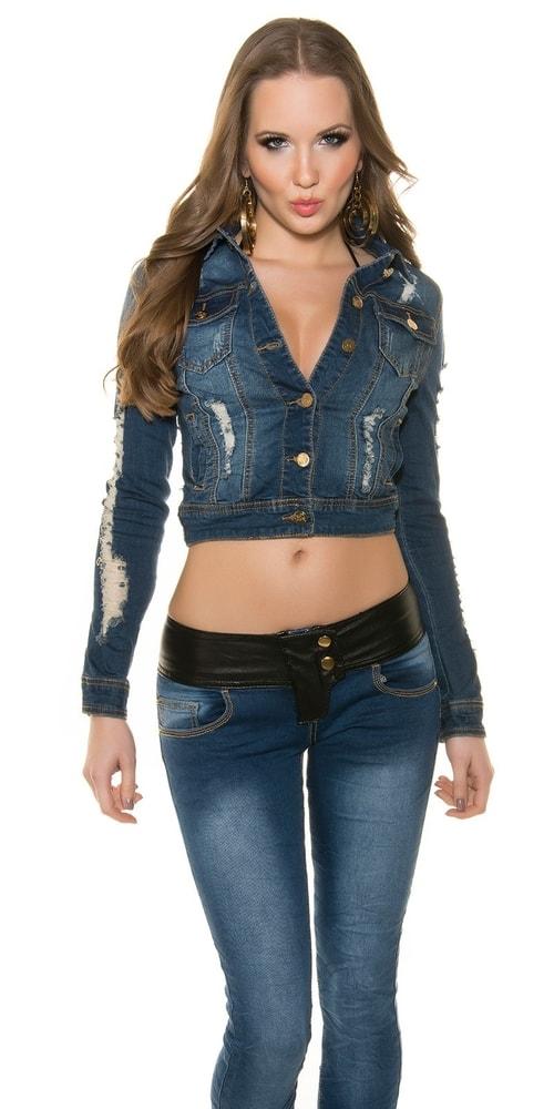 Krátka dámska džínsová bunda - M Koucla in-bu1101