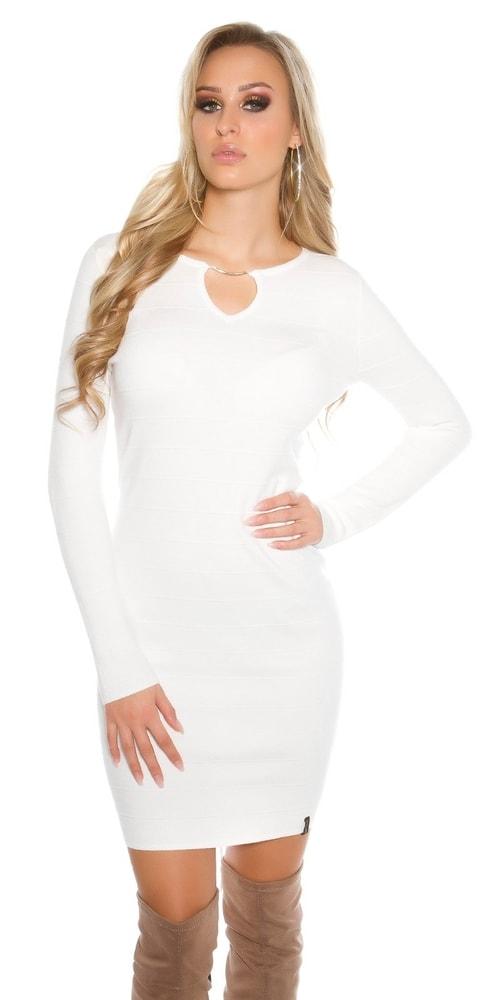 Dámske biele úpletové šaty Koucla in-sat1414wh