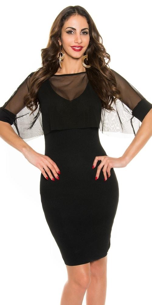 Čierne večerné šaty Koucla in-sat1287bl