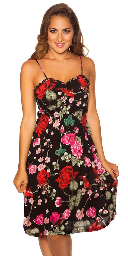Letné kvetované šaty - S/M Koucla in-sat2051bl