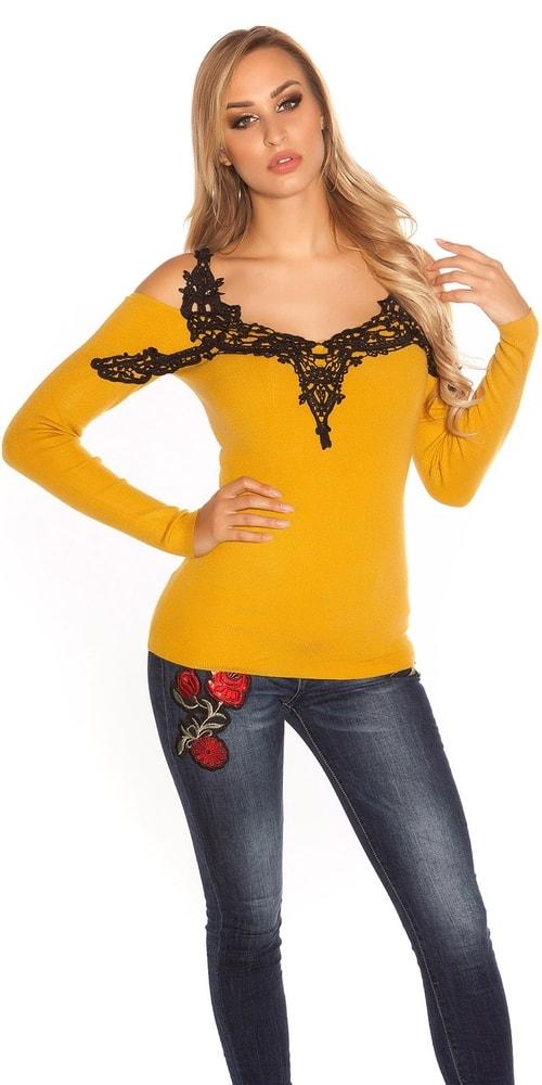 Dámsky sveter s čipkou Koucla in-sv1569se
