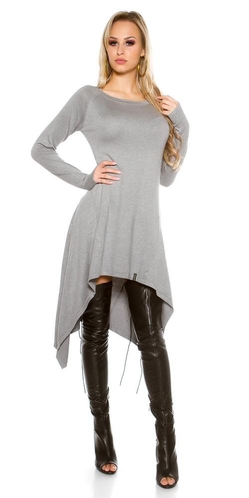 Dlhé úpletové šaty-šedé Koucla in-sat1409gr