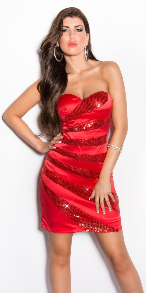 Červené dámske šaty - 36 Koucla in-sat1157re