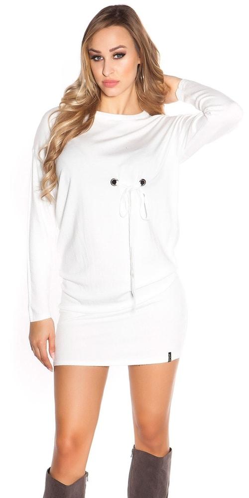 Dámske úpletové mini šaty Koucla in-sat1695wh