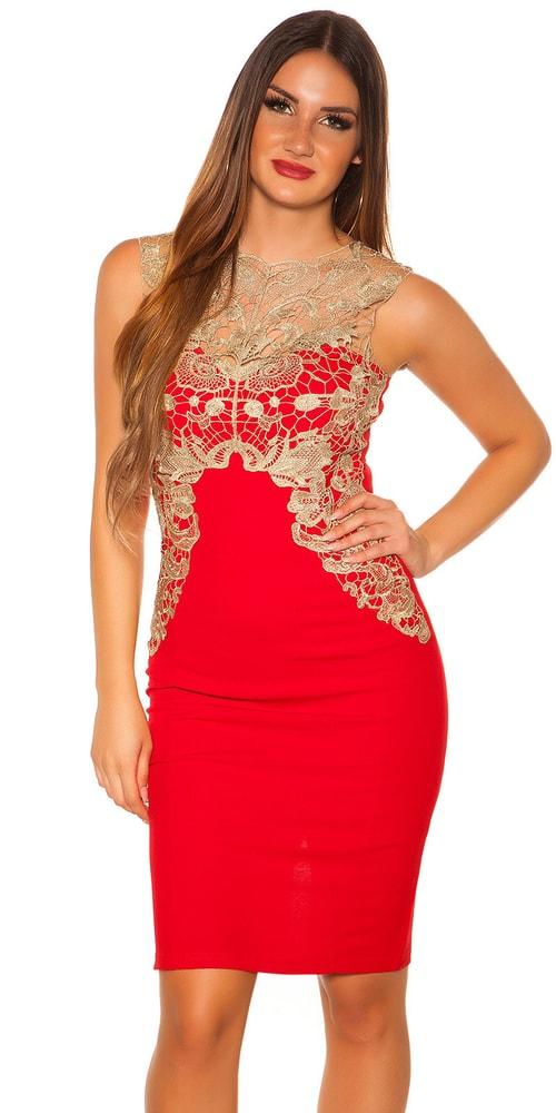 Dámske puzdrové šaty - červené - L Koucla in-sat1119re