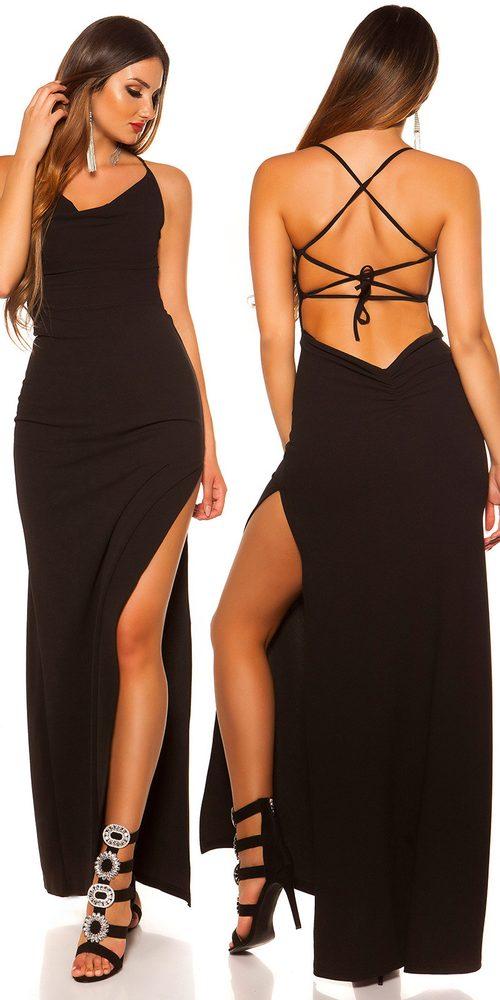 Černé plesové šaty - S/M Koucla in-sat2106bl