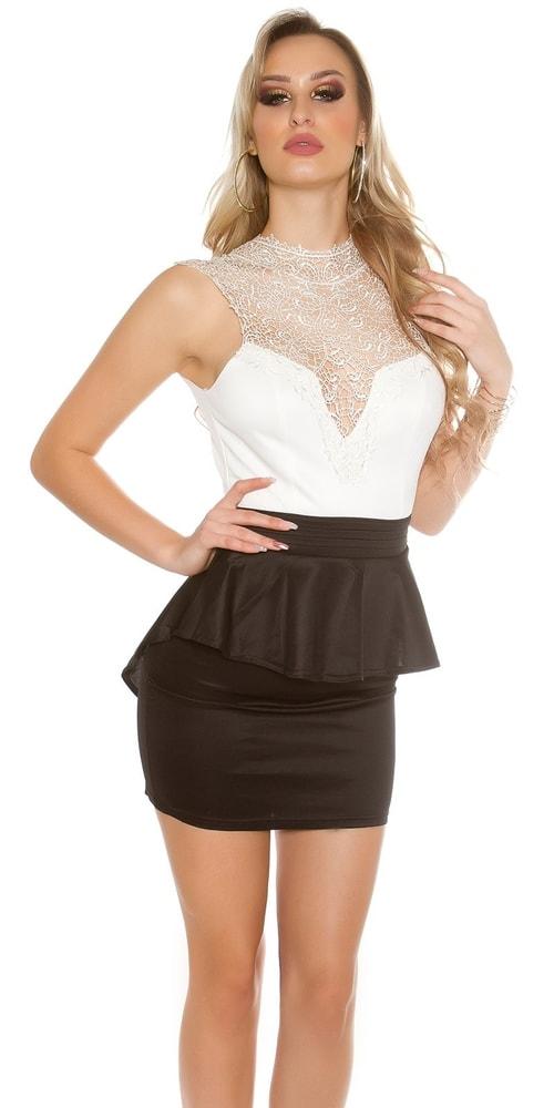 Čiernobiele čipkované šaty Koucla in-sat1432whbl