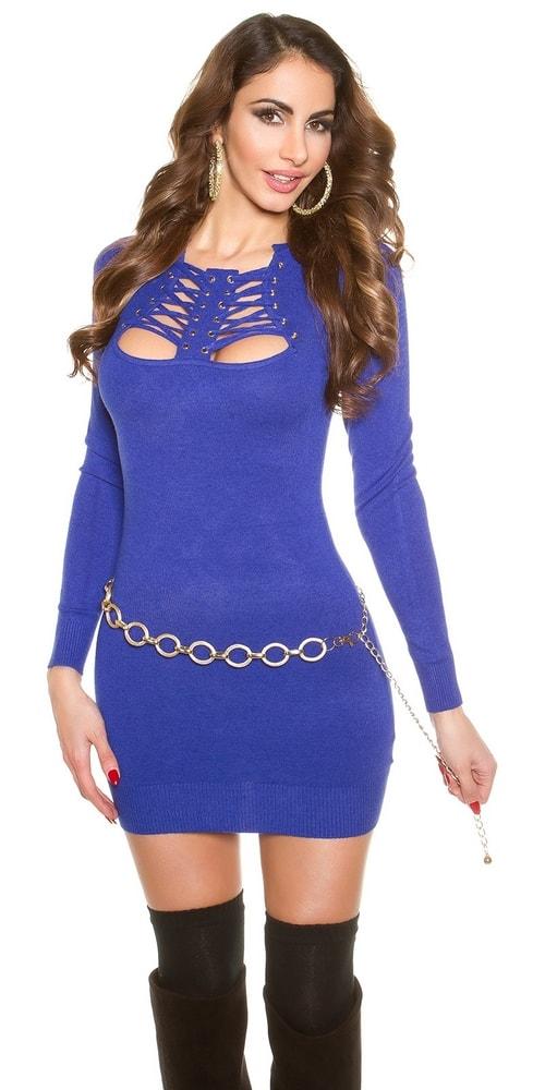 Krátke úpletové šaty - modré Koucla in-sat1120mo