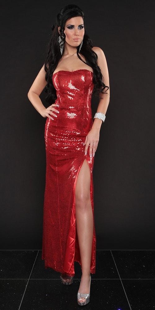 Červené dlhé sexi šaty Koucla in-sat1270re