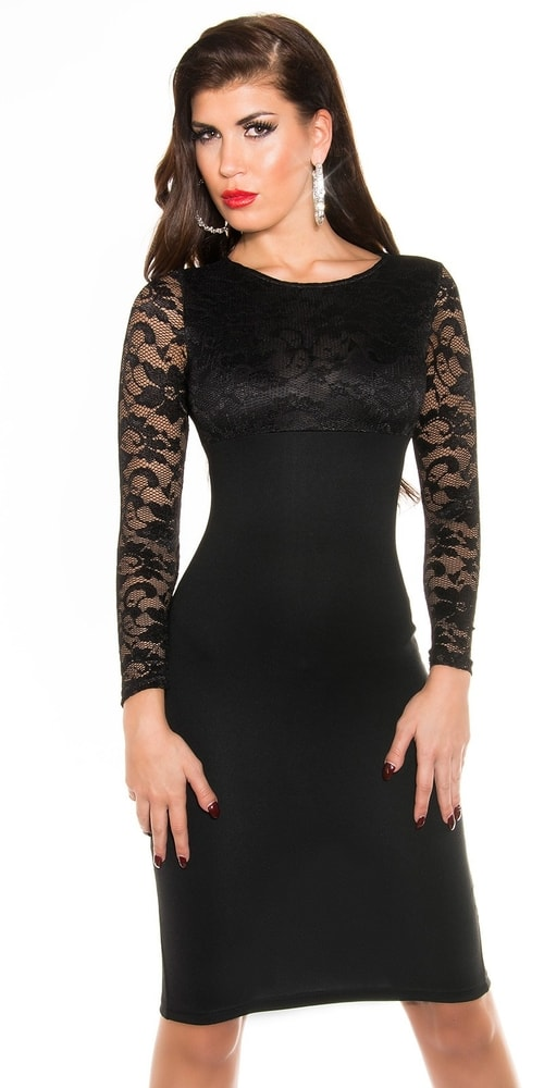 Čierne dámske šaty - 36 Koucla in-sat1710bl