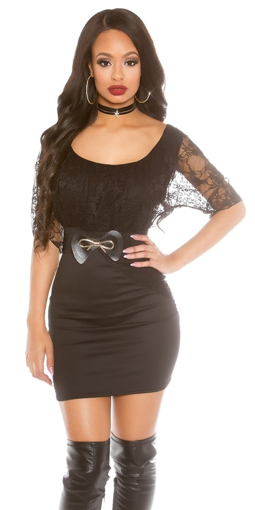 Dámske mini šaty s čipkou - 36 Koucla in-sat1483bl