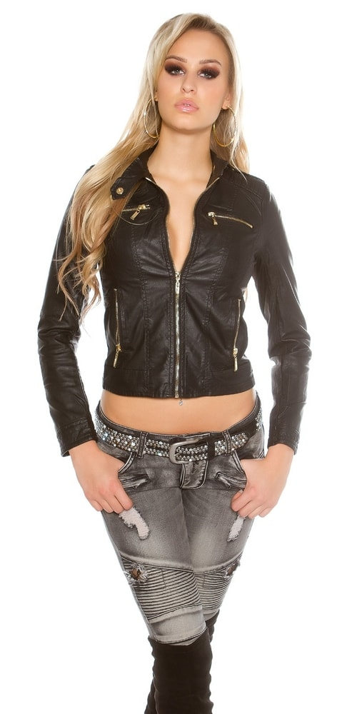 Čierna dámska bunda - 36 Koucla in-bu1153bl