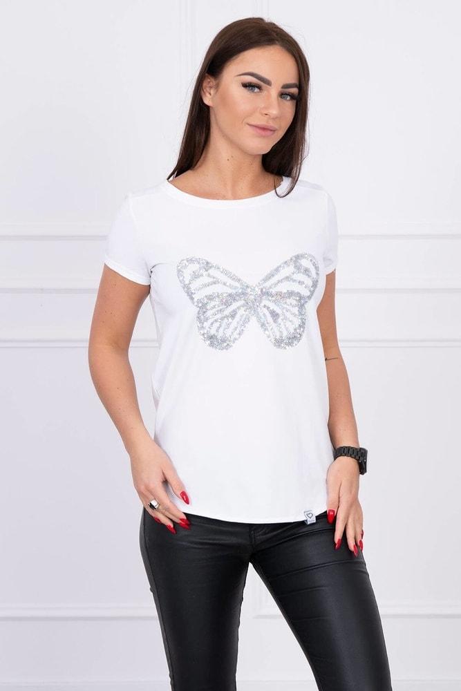 Biele tričko s aplikáciou motýľa Kesi ks-tr61047wh