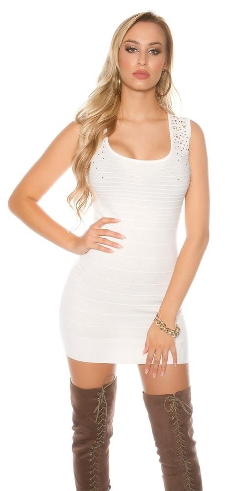 Dámské mini úpletové šaty Koucla in-sat1663wh
