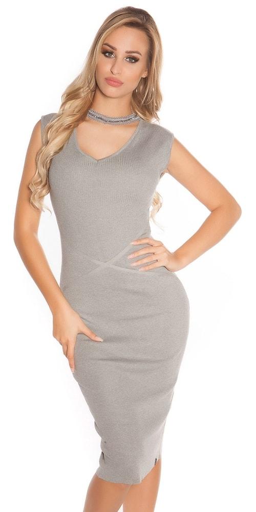 Úpletové dámské šaty - S/M Koucla in-sat1581gr