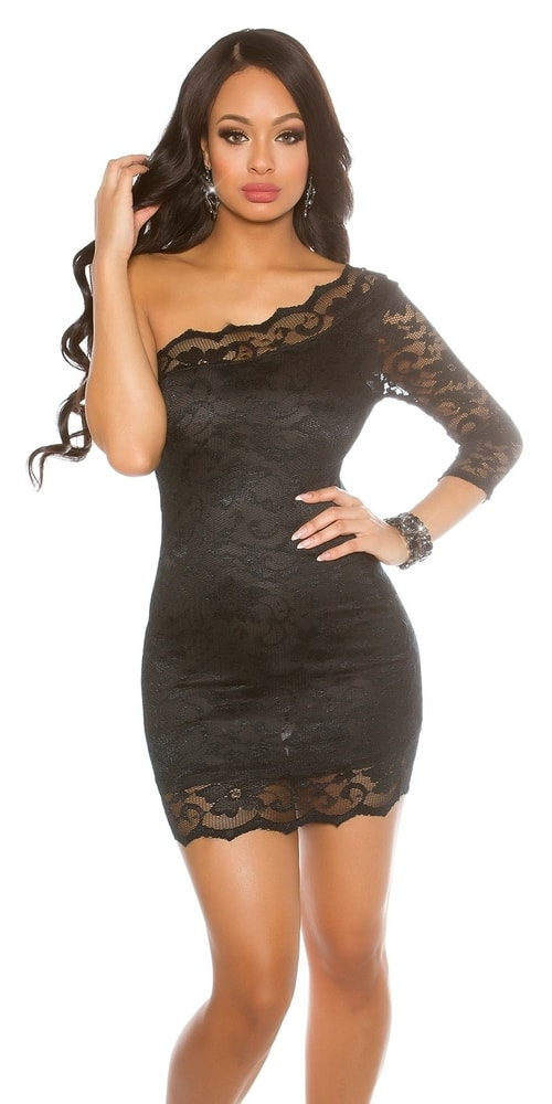 Čierne mini šaty s čipkou - 36 Koucla in-sat1506bl