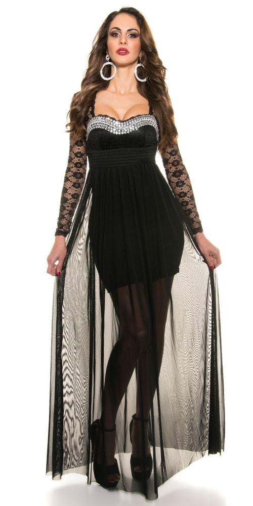 Čierne dlhé plesové šaty Koucla in-sat1121bl