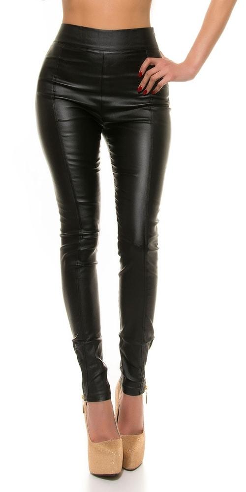 Koženkové nohavice dámske čierne - XL Koucla in-ka1021bl