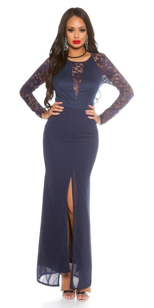Modré dlhé šaty s čipkou Koucla in-sat1421mo