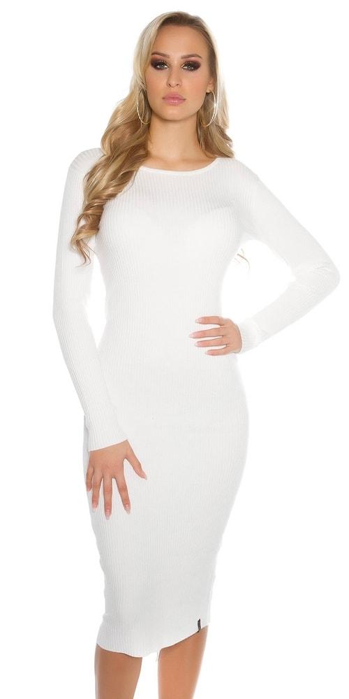 Biele dámske úpletové šaty Koucla in-sat1415wh