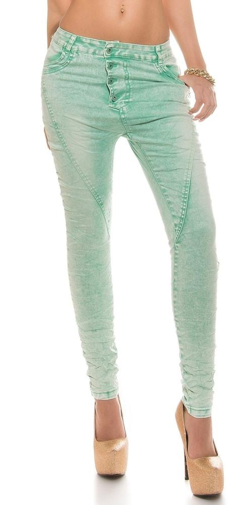 Moderné skinny džínsy - mentolové Koucla in-ri1125mi