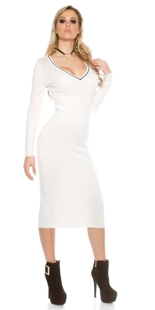 Biele dlhší dámske šaty - Uni Koucla in-sat1435wh