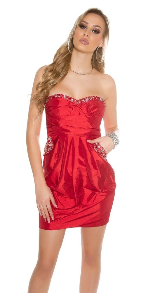 Koktejlové dámske červené šaty - 38 Koucla in-sat1430re