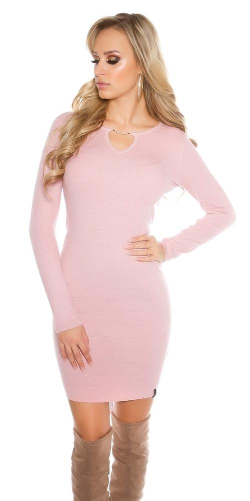 Dievčenské ružové úpletové šaty Koucla in-sat1414pi
