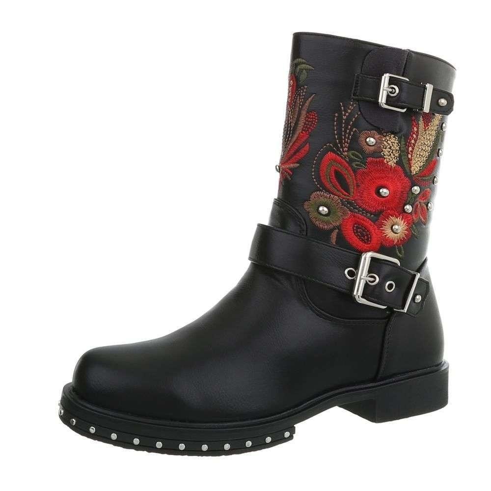 Kotníková obuv s výšivkou EU shd-oko1132bl