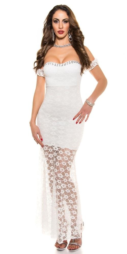 Čipkované dlhé šaty Koucla in-sat1048wh