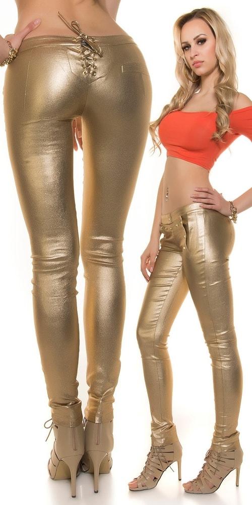 Zlaté dámske nohavice Koucla in-ka1002go