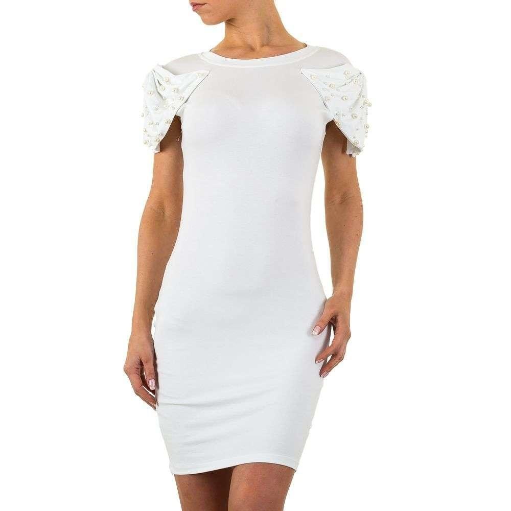 Bílé šaty s perličkami shd-sat1016wh