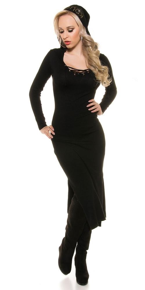 Čierne šaty z úpletu - Uni Koucla in-sat1216bl