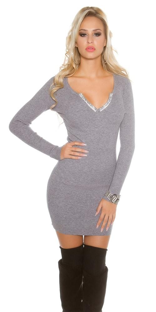 Úpletové dámske mini šaty Koucla in-sat1395gr
