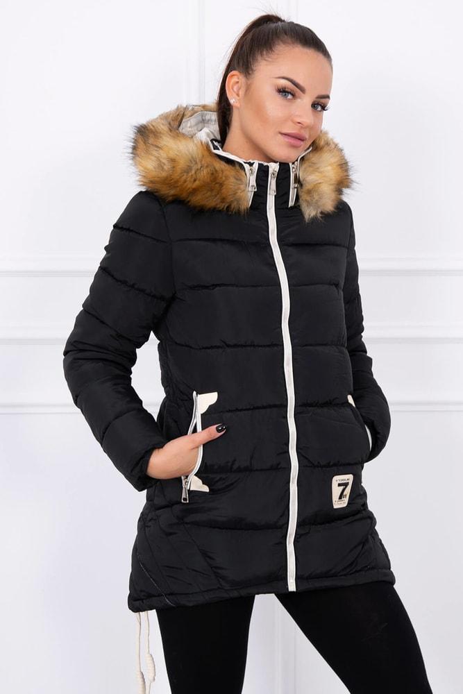Čierna zimná bunda s kapucňou - M Kesi ks-bu9857bl