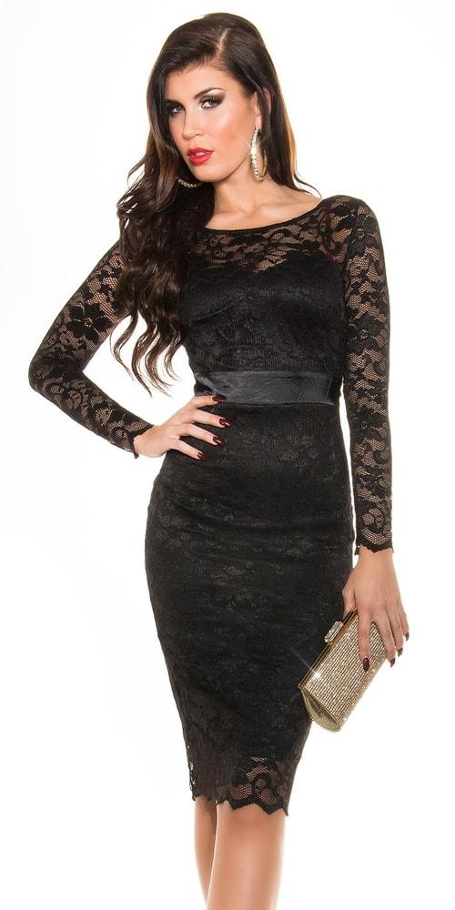 Čierne čipkované šaty - 36 Koucla in-sat1156bl