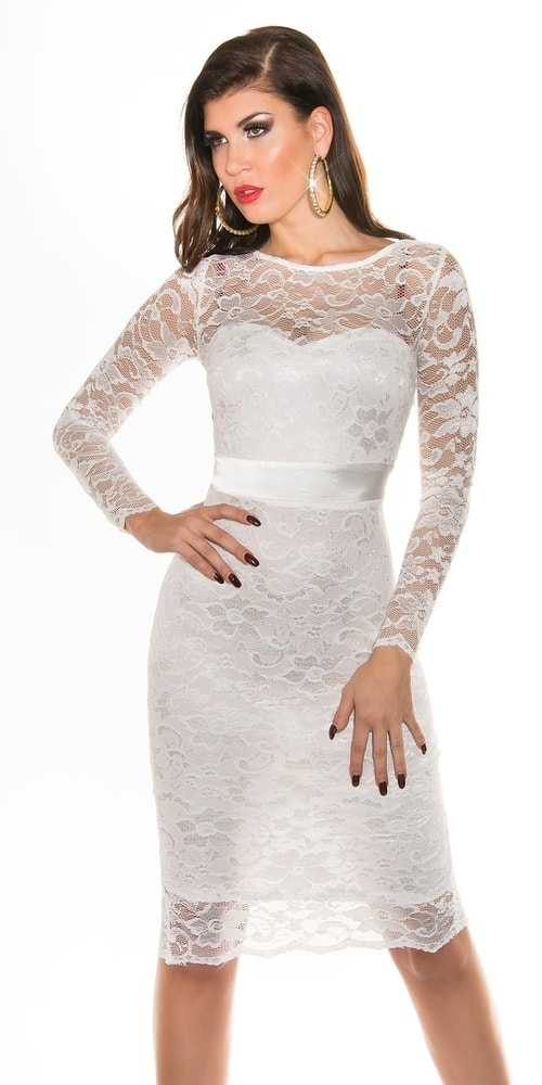 Dámske čipkované šaty - 38 Koucla in-sat1156wh
