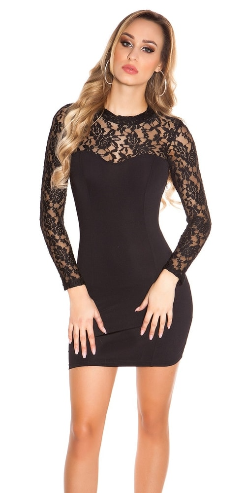 Čierne čipkované spoločenské šaty - S/M Koucla in-sat1138bl