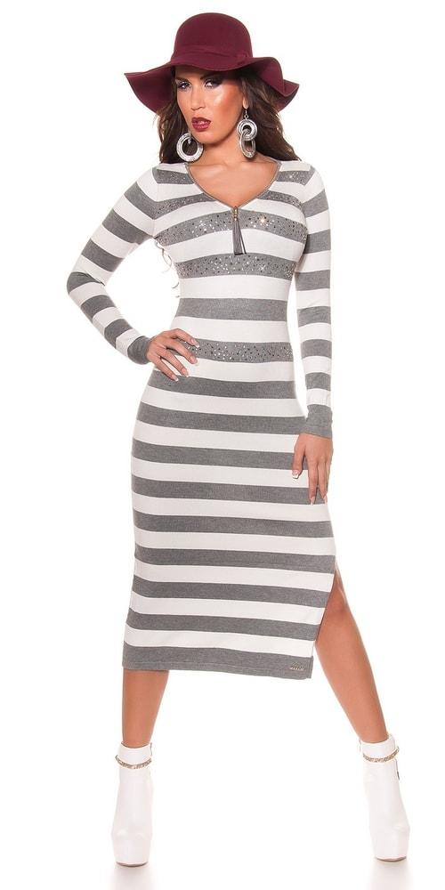 Dámske dlhé prúžkované šaty-šedé Koucla in-sat1147gr