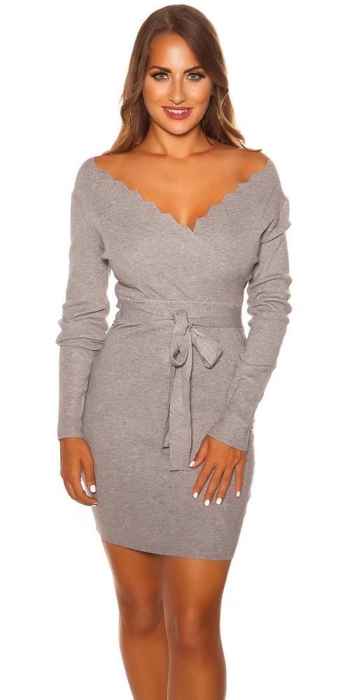 Úpletové dámské šaty - S/M Koucla in-sat2081gr