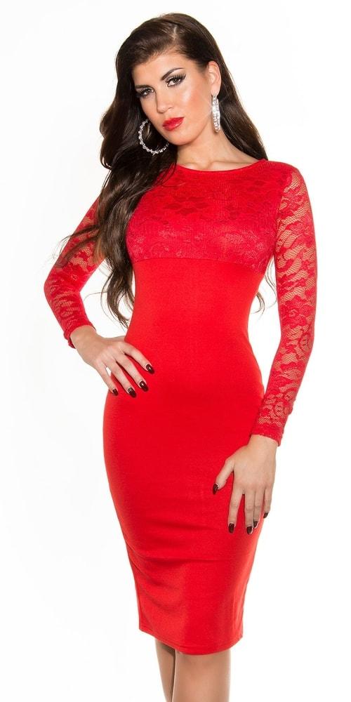 Červené krajkové šaty - 38 Koucla in-sat1710re