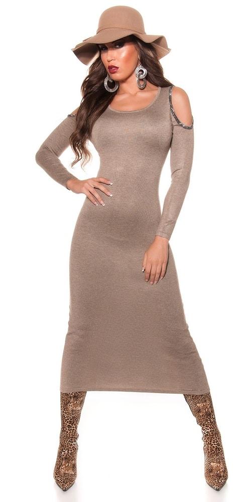 Úpletové dlhé dámske šaty Koucla in-sat1058tg