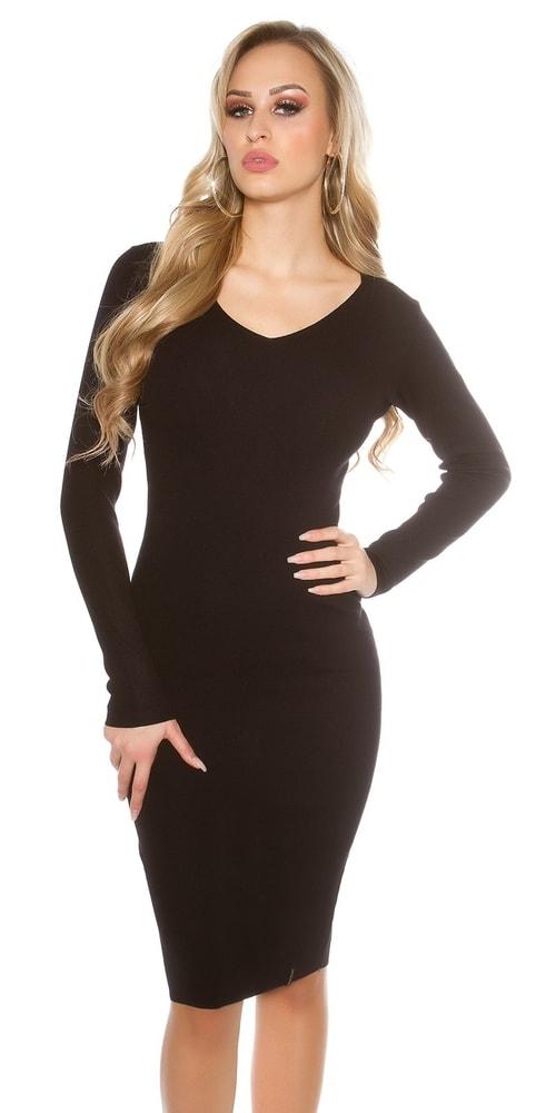 Čierne pletené šaty Koucla in-sat1424bl