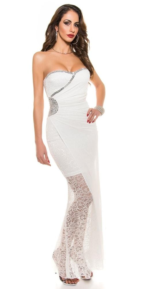 Čipkované plesové šaty Koucla in-sat1046wh