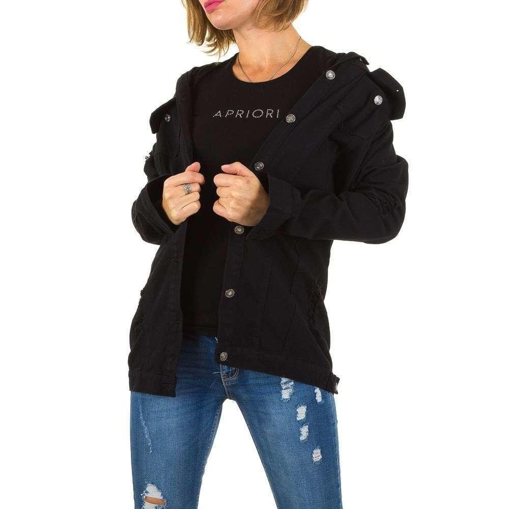Čierna dlhá džínsová bunda - M EU shd-bu1024bl
