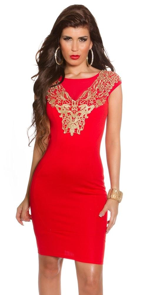 Červené dámske šaty - 36 Koucla in-sat1155re