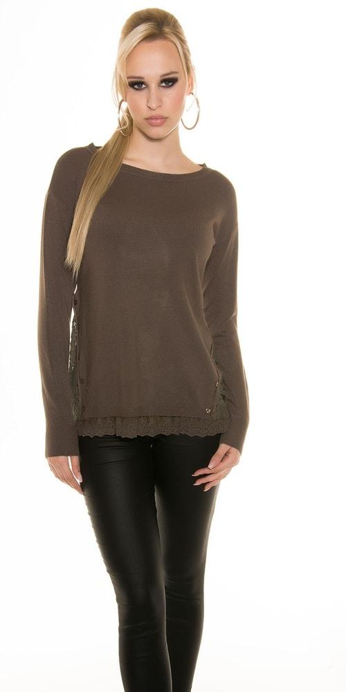 Dámsky sveter s čipkou Koucla in-sv1099ca