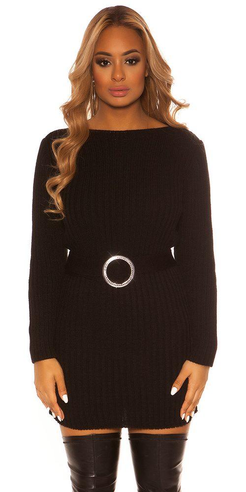 Čierne pletené šaty Koucla in-sat2086bl