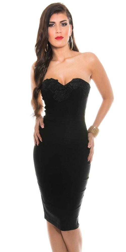 Puzdrové šaty čierne - 34 Koucla in-sat1221bl